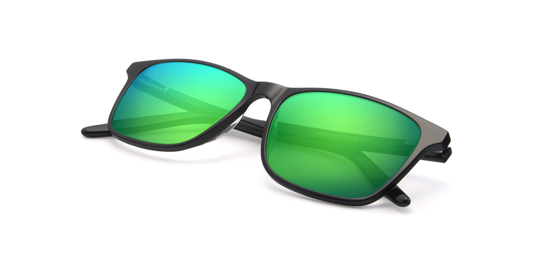 View of 17500 in Black with Green Mirrored Lenses