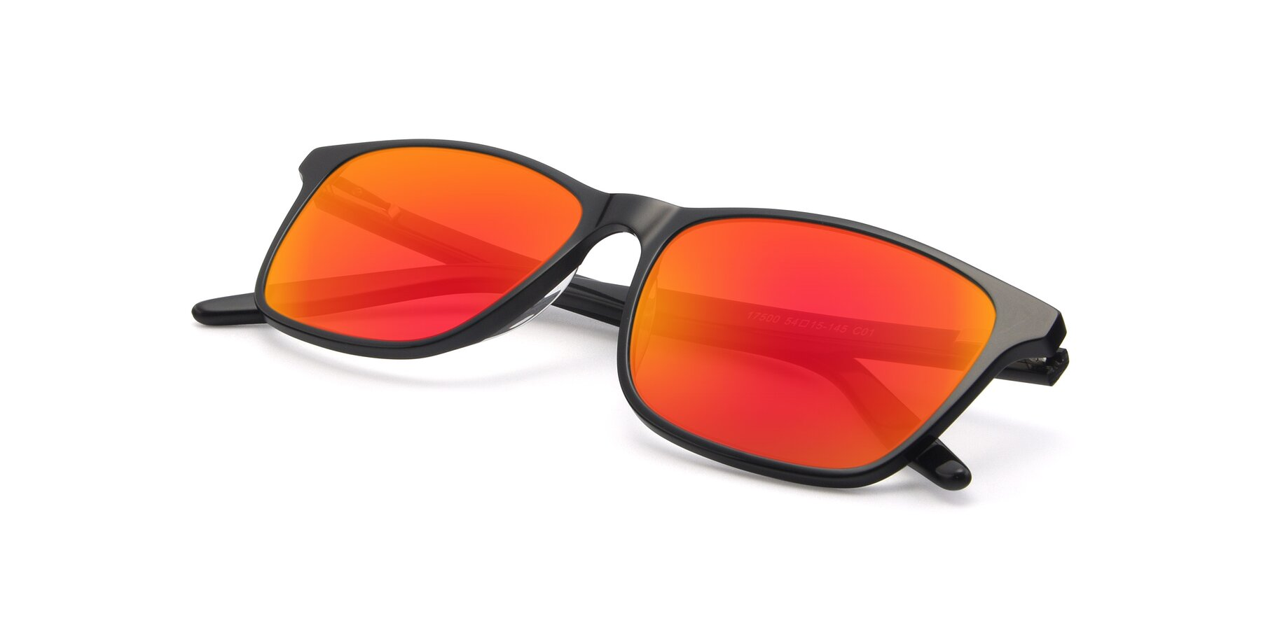 View of 17500 in Black with Red Gold Mirrored Lenses