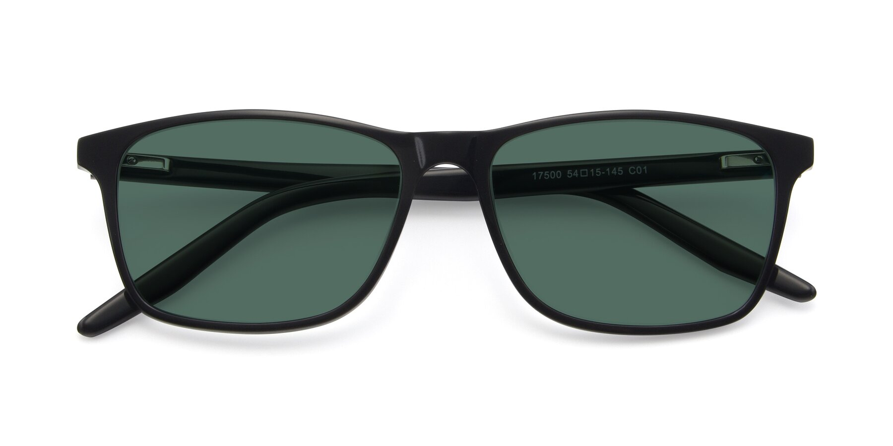 Folded Front of 17500 in Black with Green Polarized Lenses