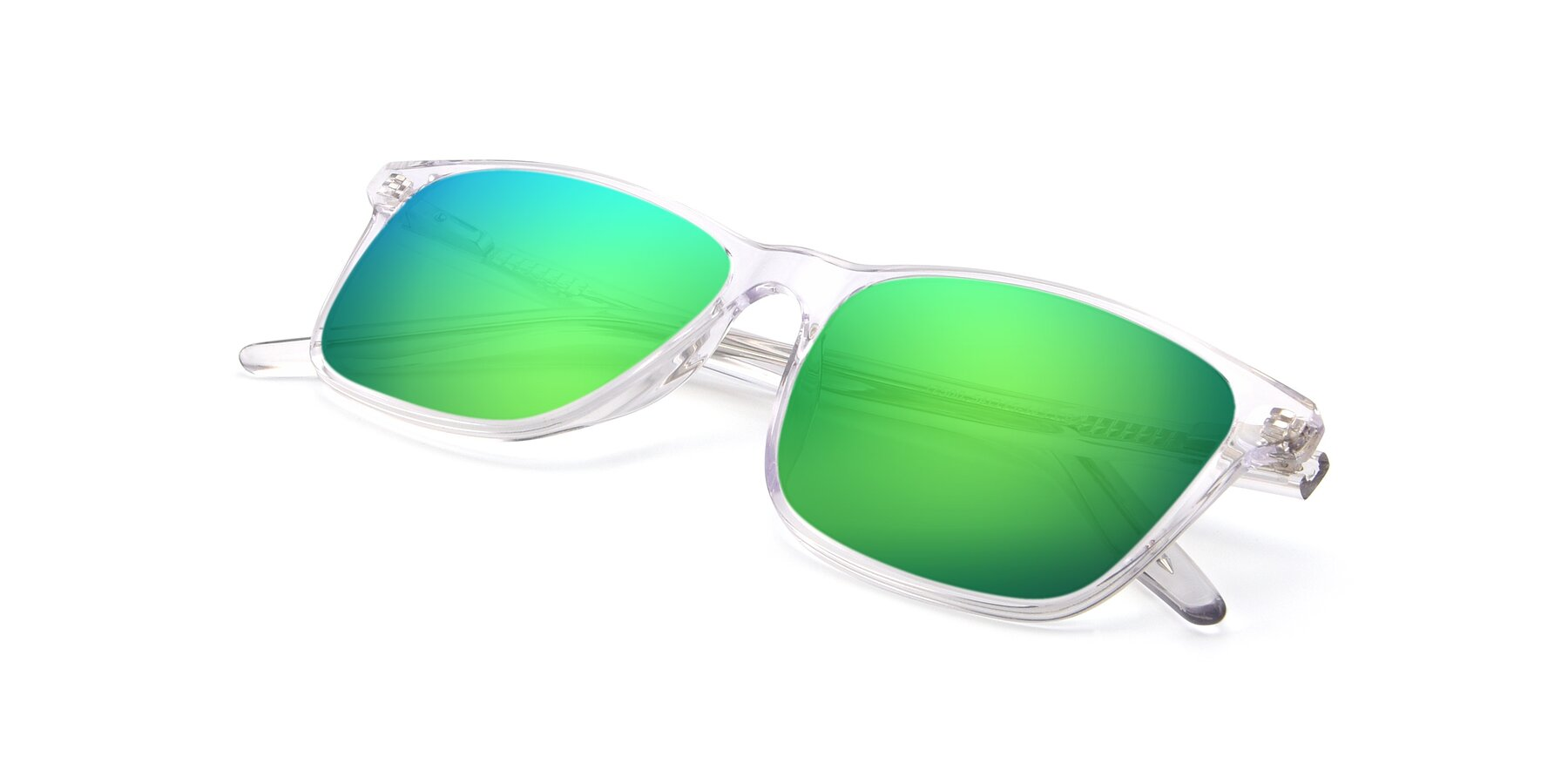 View of 17500 in Clear with Green Mirrored Lenses