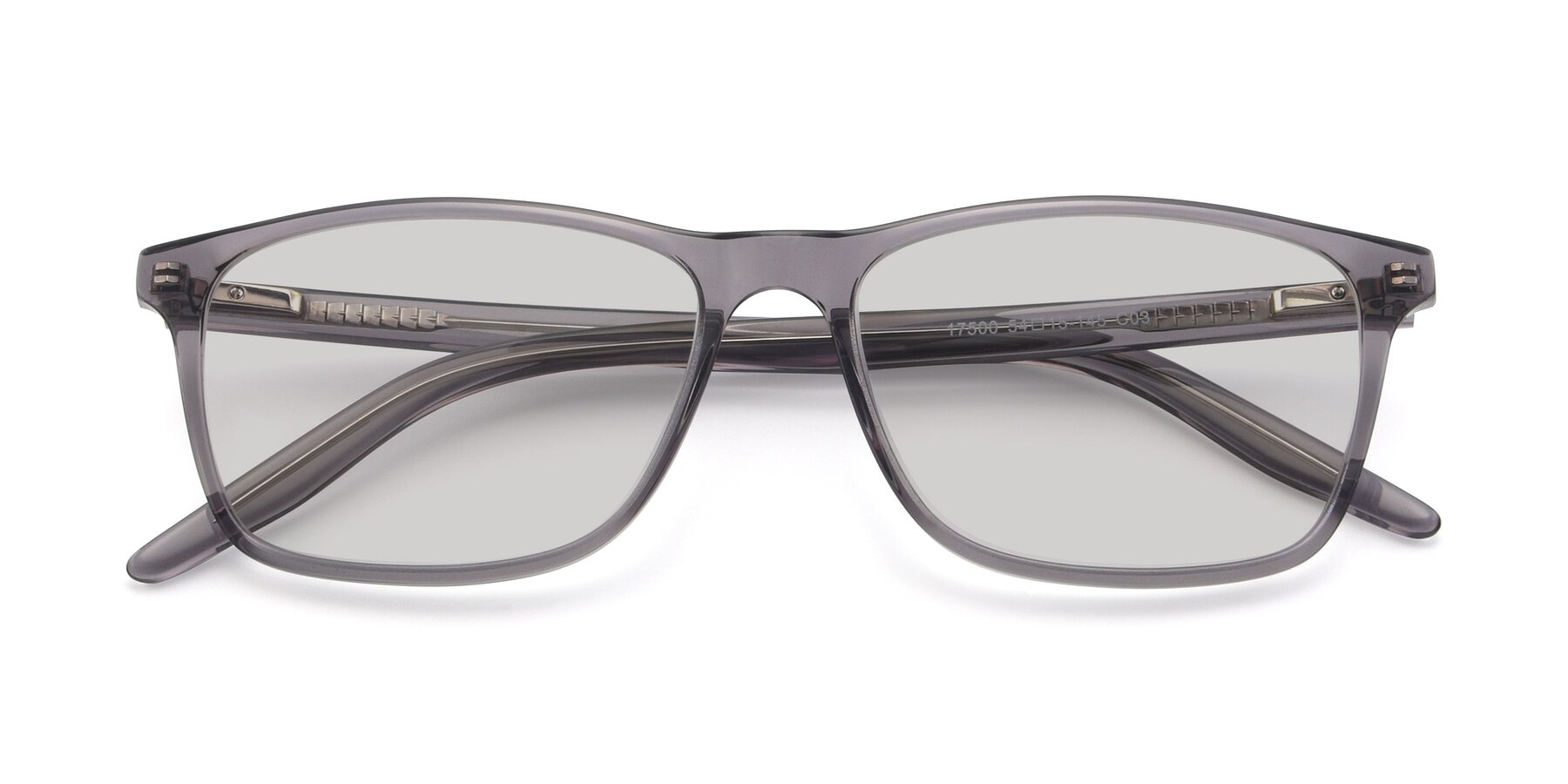 Folded Front of 17500 in Transparent Grey with Light Gray Tinted Lenses