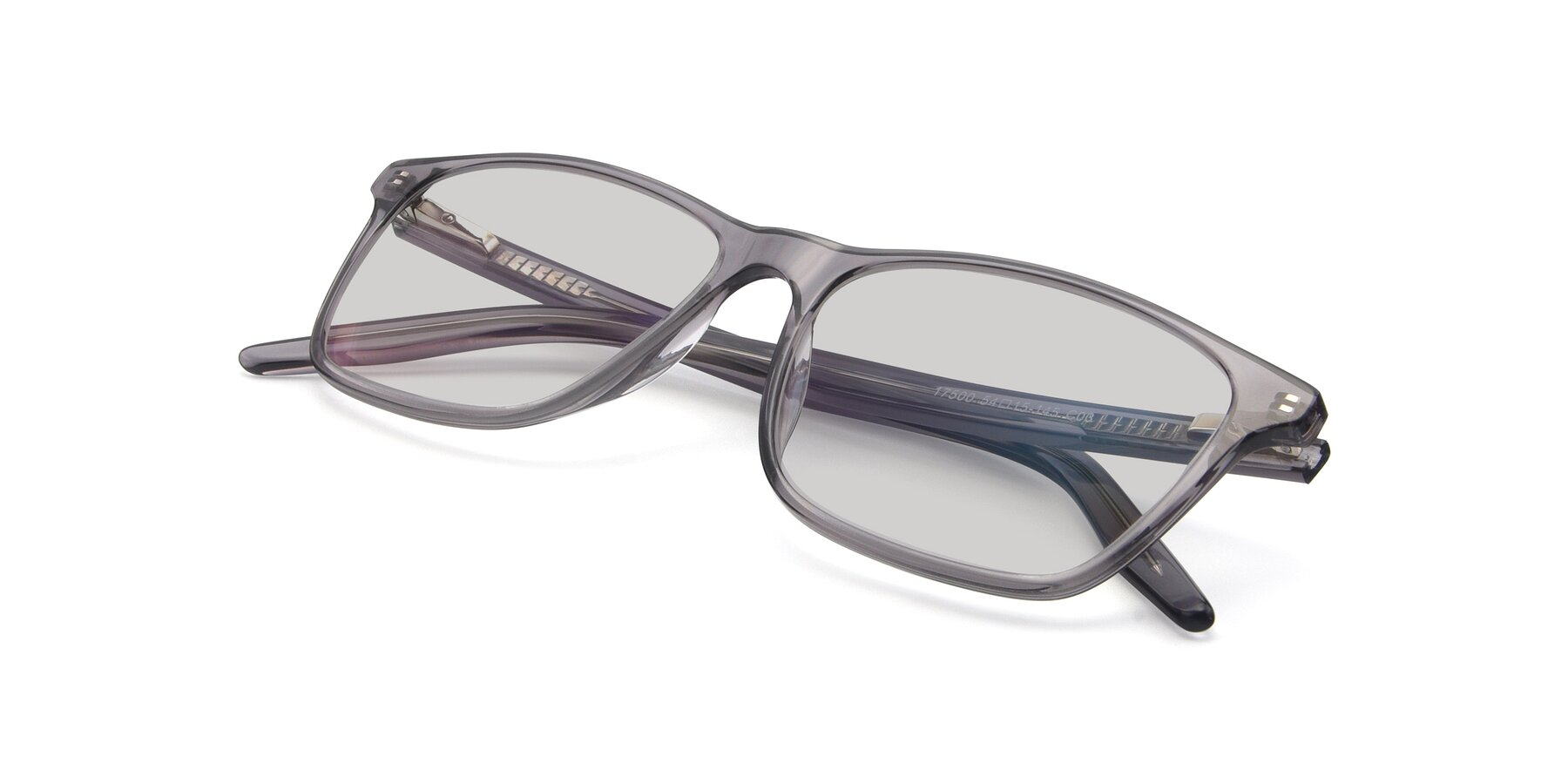 View of 17500 in Transparent Grey with Light Gray Tinted Lenses