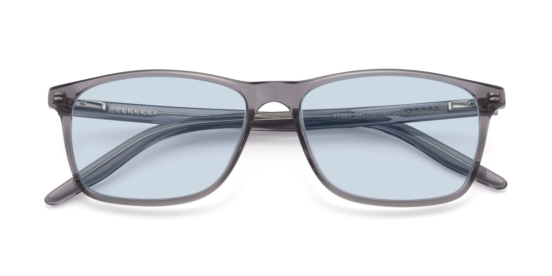Folded Front of 17500 in Transparent Grey with Light Blue Tinted Lenses