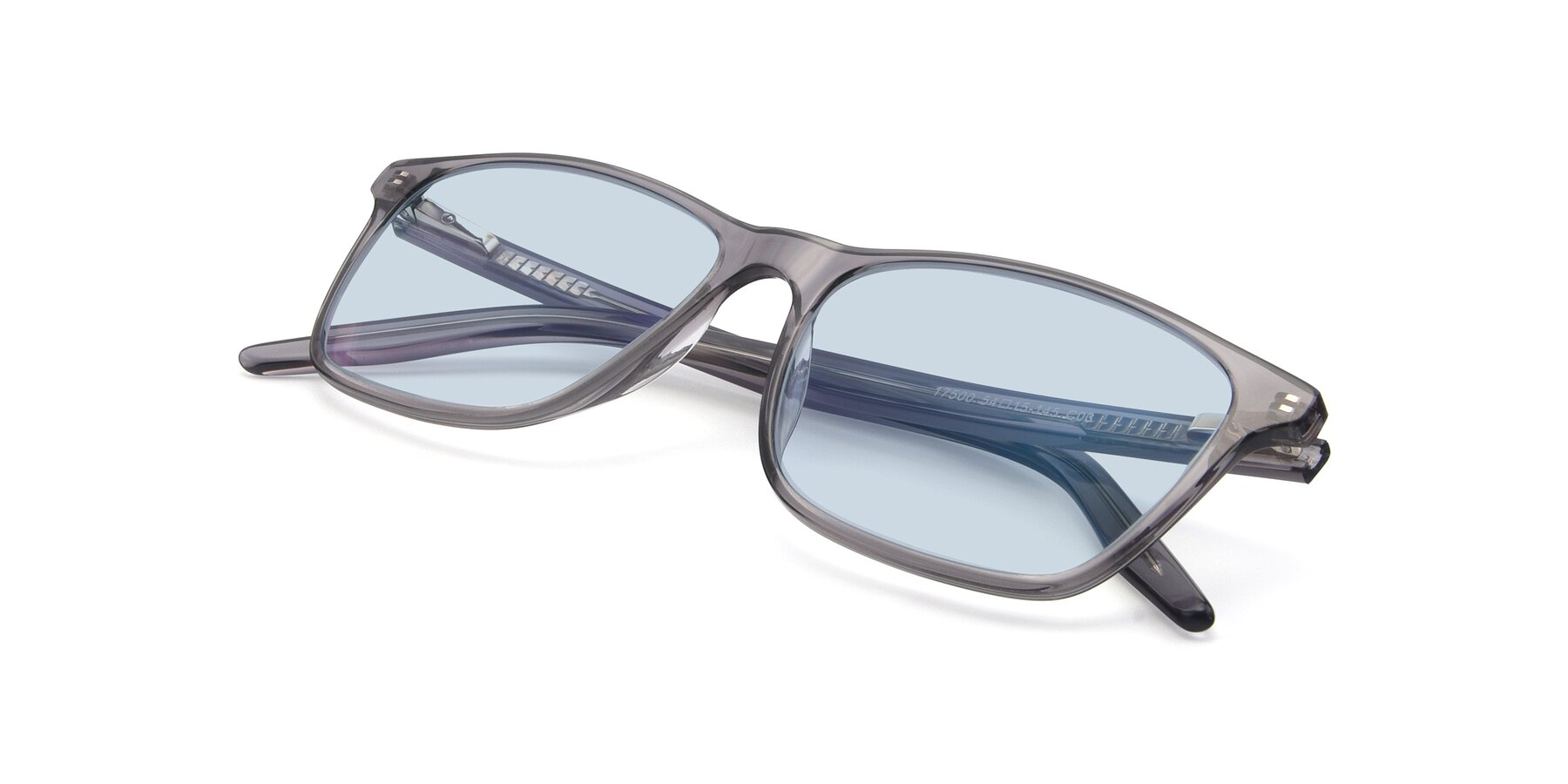 View of 17500 in Transparent Grey with Light Blue Tinted Lenses