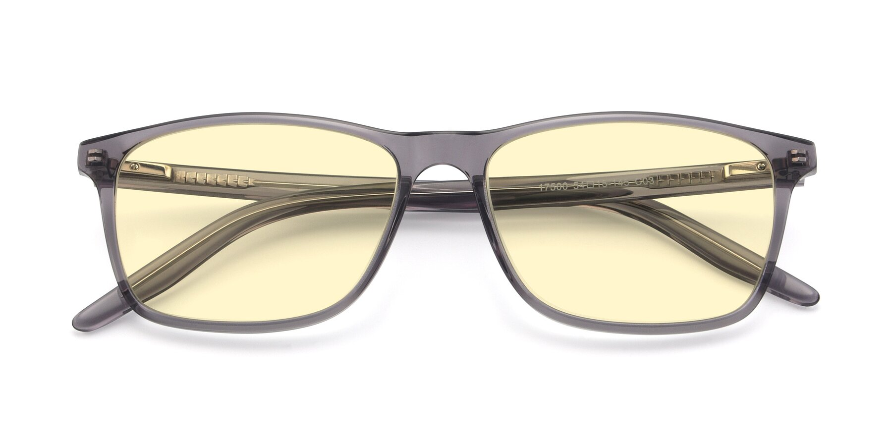 Folded Front of 17500 in Transparent Grey with Light Yellow Tinted Lenses