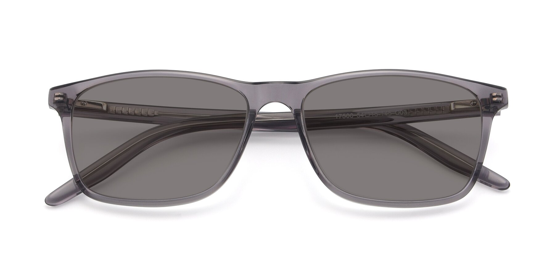 Folded Front of 17500 in Transparent Grey with Medium Gray Tinted Lenses