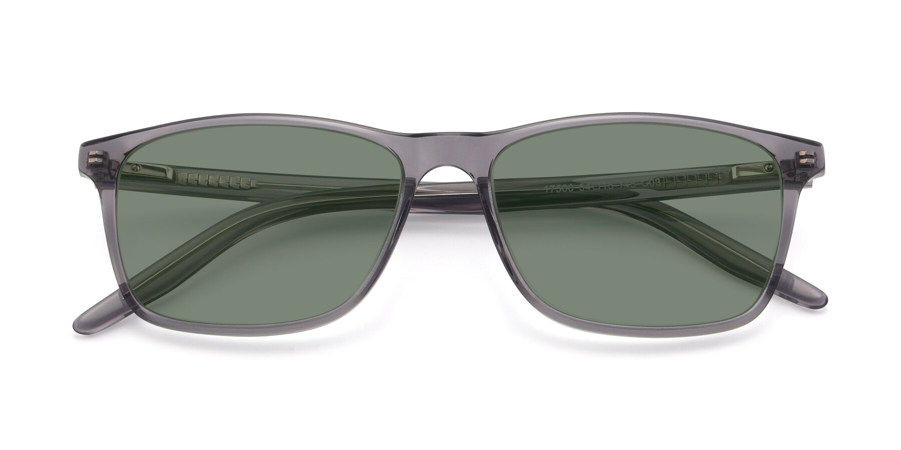 Folded Front of 17500 in Transparent Grey with Medium Green Tinted Lenses
