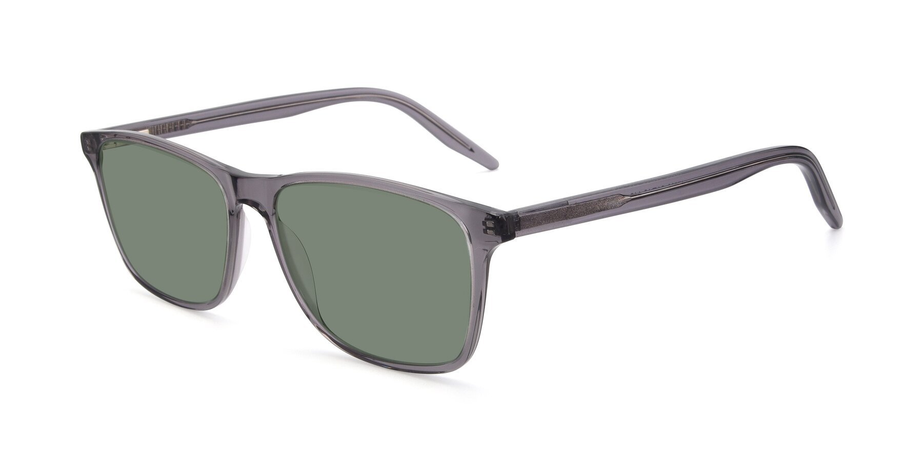 Angle of 17500 in Transparent Grey with Medium Green Tinted Lenses