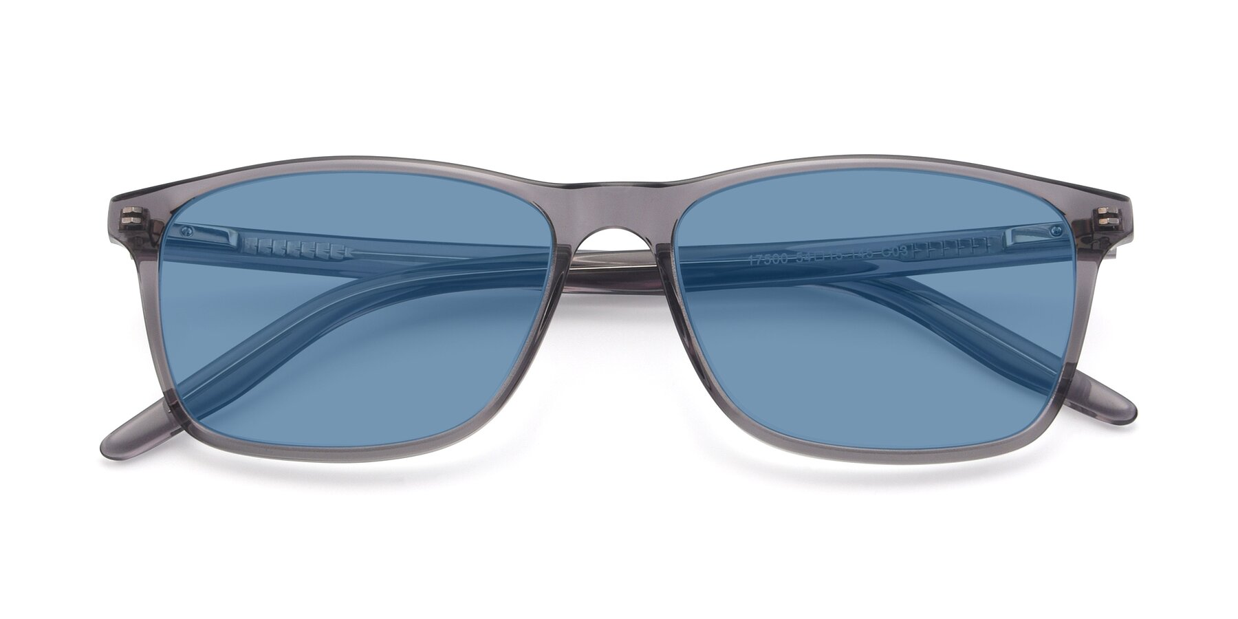 Folded Front of 17500 in Transparent Grey with Medium Blue Tinted Lenses
