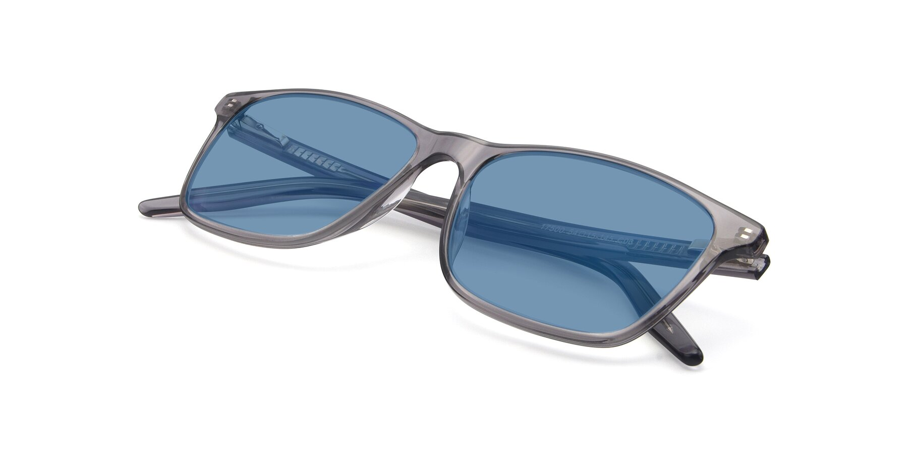View of 17500 in Transparent Grey with Medium Blue Tinted Lenses