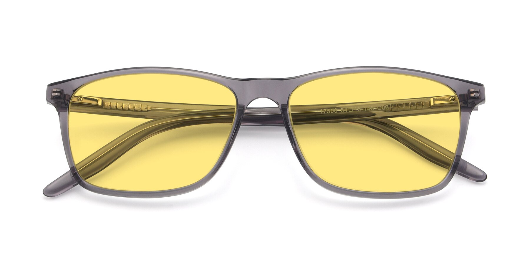 Folded Front of 17500 in Transparent Grey with Medium Yellow Tinted Lenses