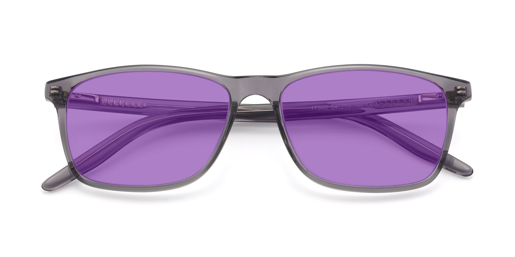 Folded Front of 17500 in Transparent Grey with Medium Purple Tinted Lenses