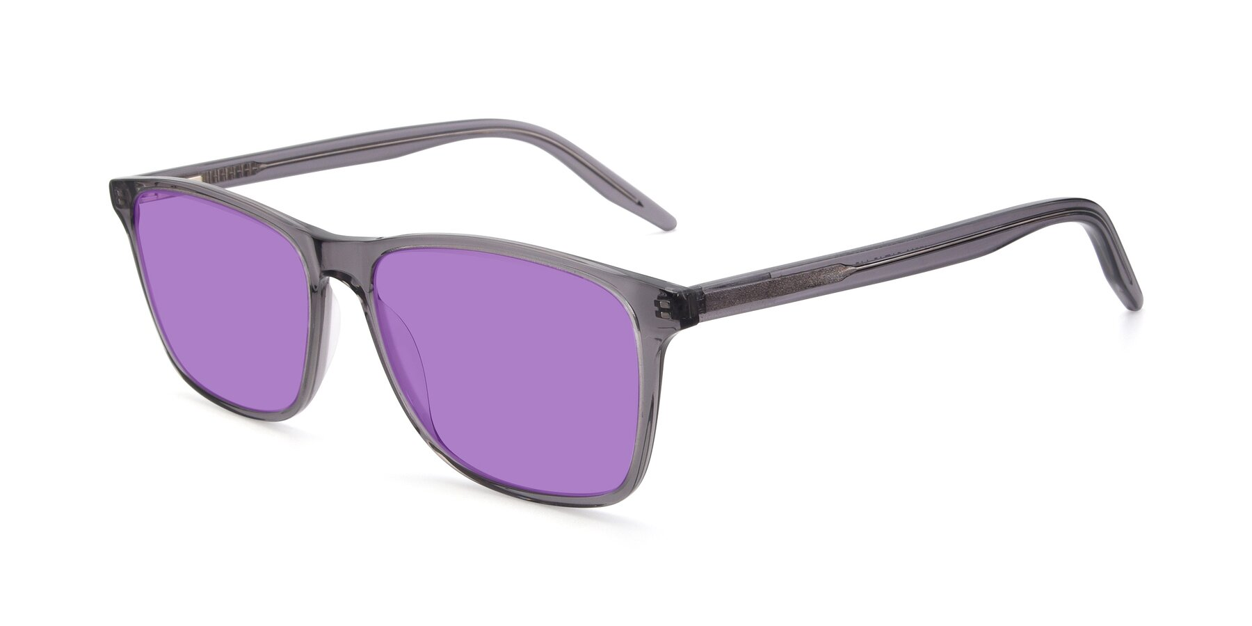 Angle of 17500 in Transparent Grey with Medium Purple Tinted Lenses