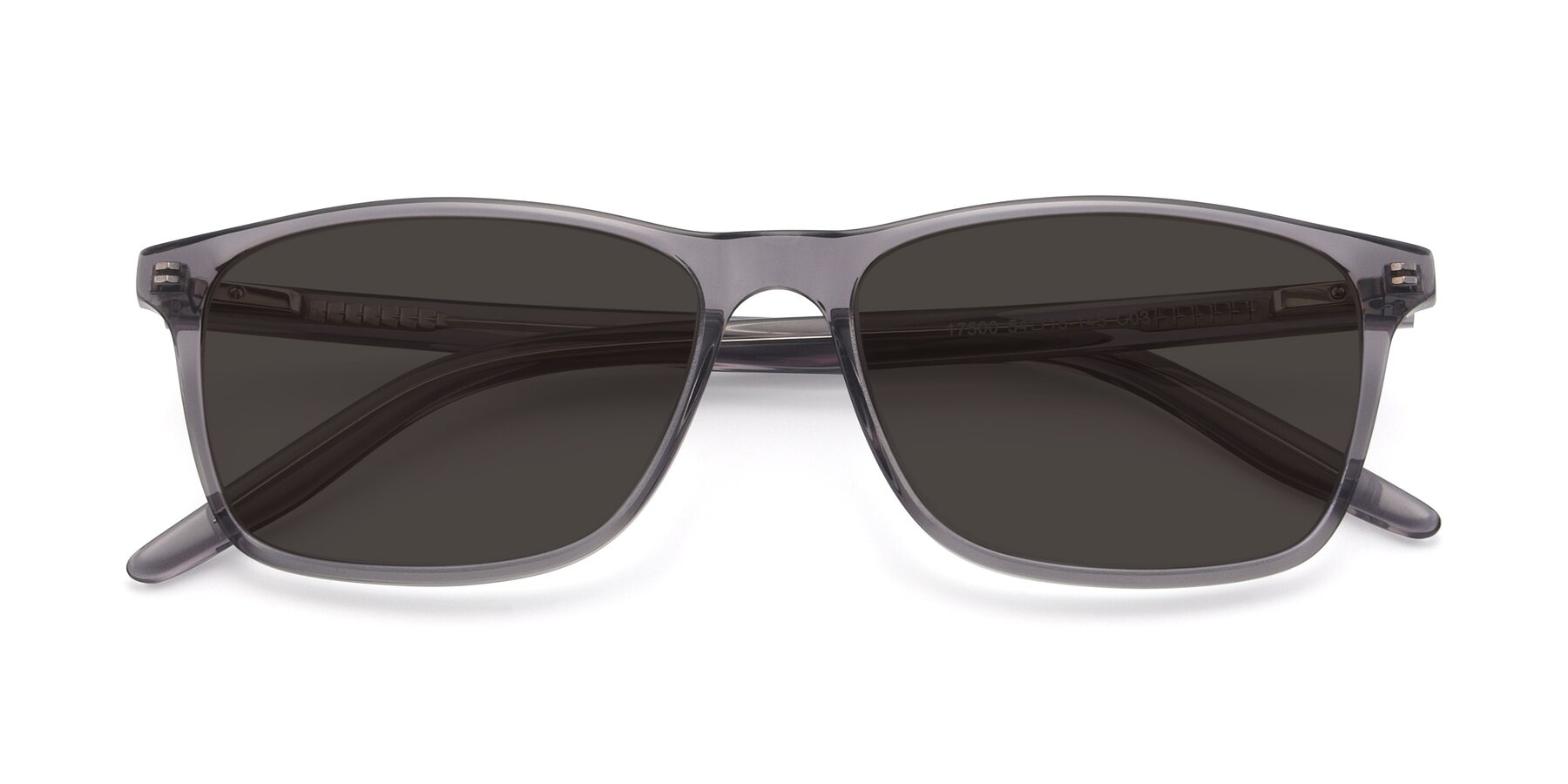 Folded Front of 17500 in Transparent Grey with Gray Tinted Lenses