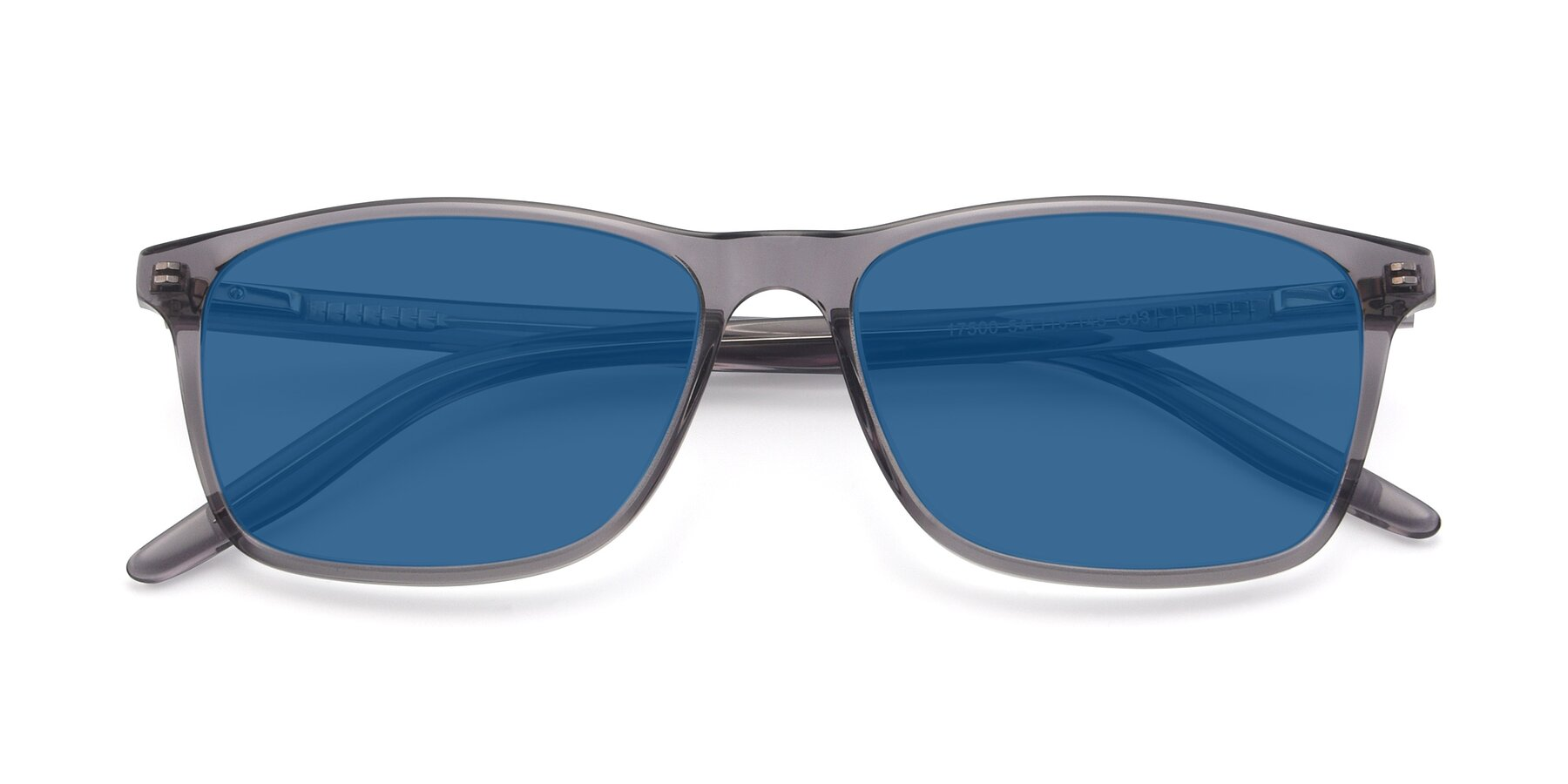 Folded Front of 17500 in Transparent Grey with Blue Tinted Lenses