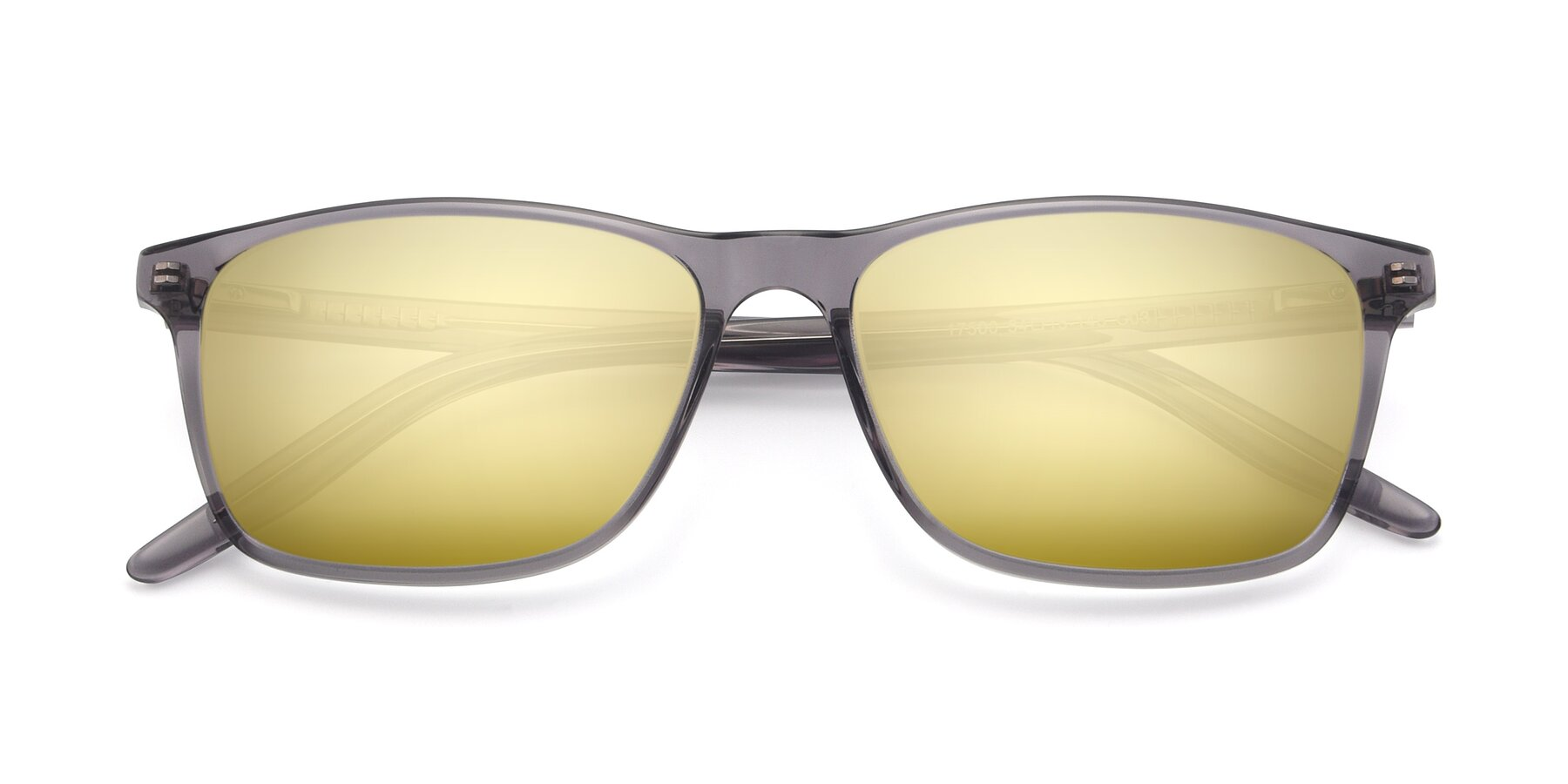 Folded Front of 17500 in Transparent Grey with Gold Mirrored Lenses