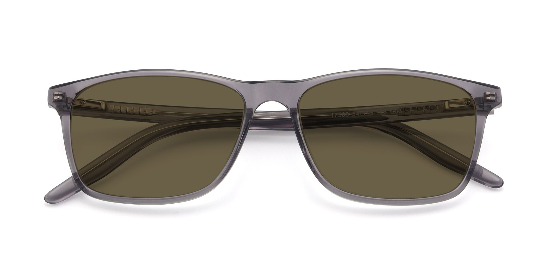 Folded Front of 17500 in Transparent Grey with Brown Polarized Lenses