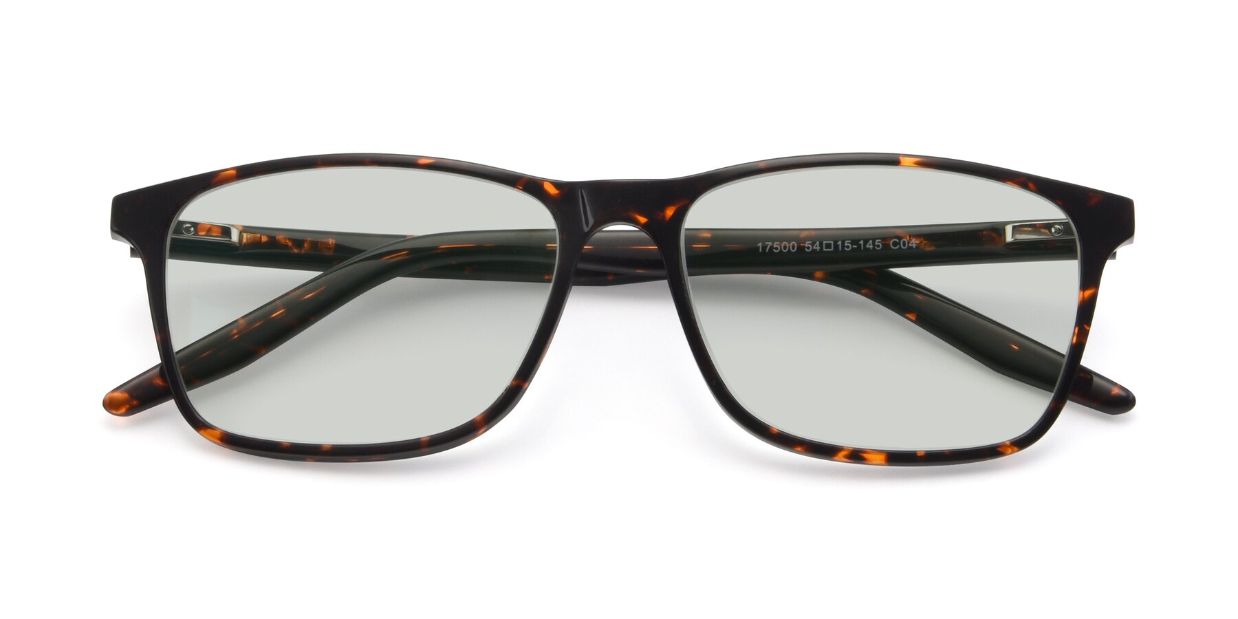 Folded Front of 17500 in Tortoise with Light Green Tinted Lenses