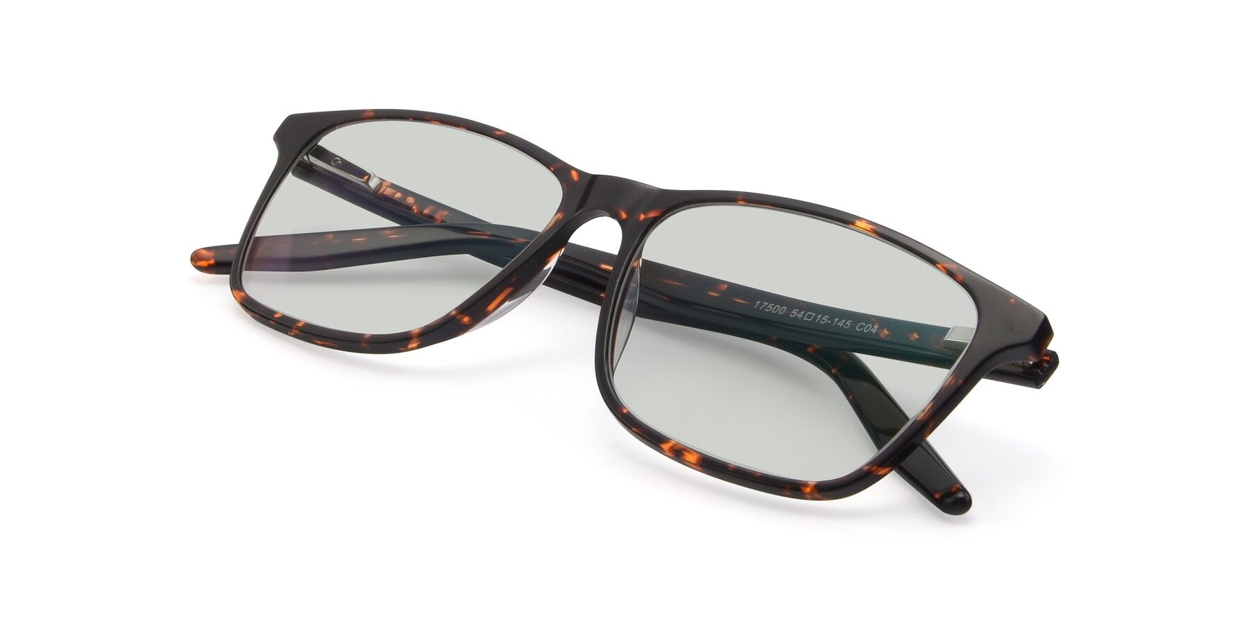 View of 17500 in Tortoise with Light Green Tinted Lenses
