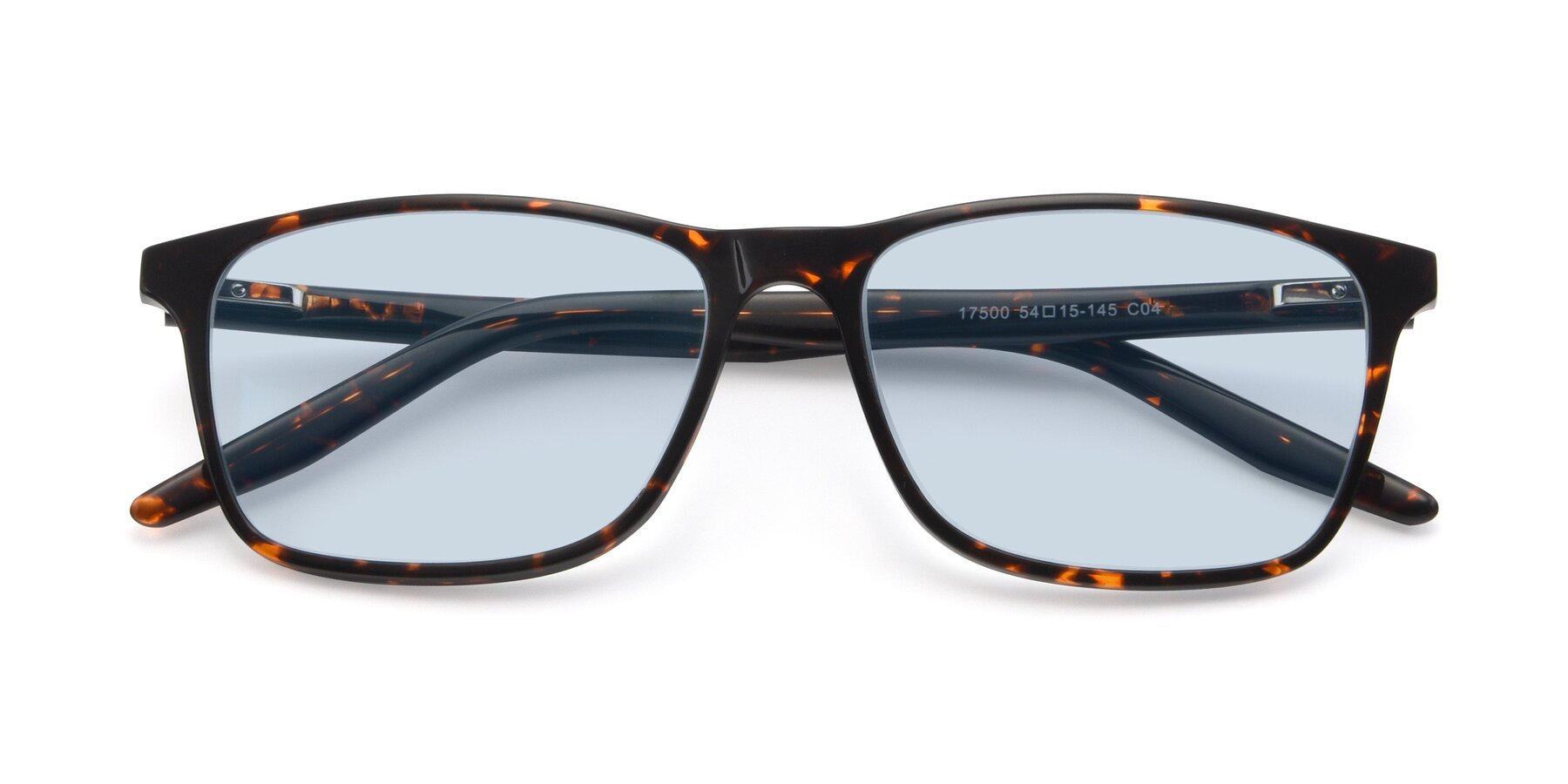 Folded Front of 17500 in Tortoise with Light Blue Tinted Lenses