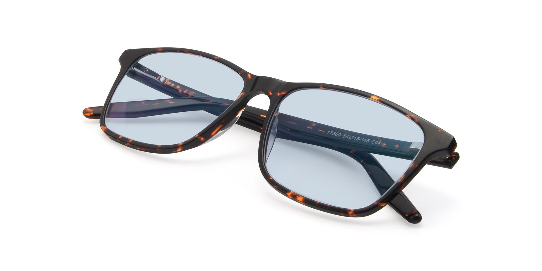 View of 17500 in Tortoise with Light Blue Tinted Lenses