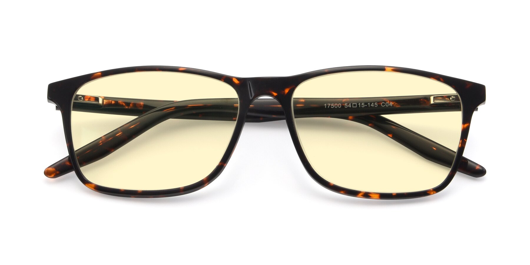 Folded Front of 17500 in Tortoise with Light Yellow Tinted Lenses