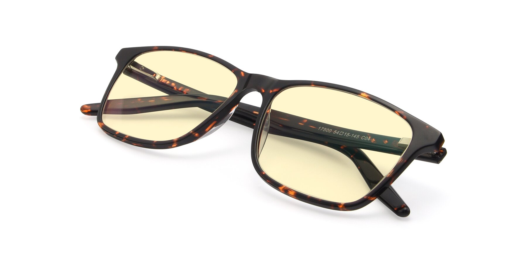 View of 17500 in Tortoise with Light Yellow Tinted Lenses