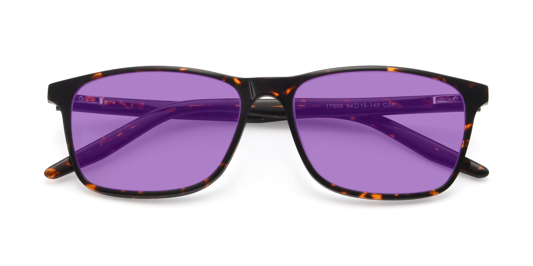 Folded Front of 17500 in Tortoise with Medium Purple Tinted Lenses