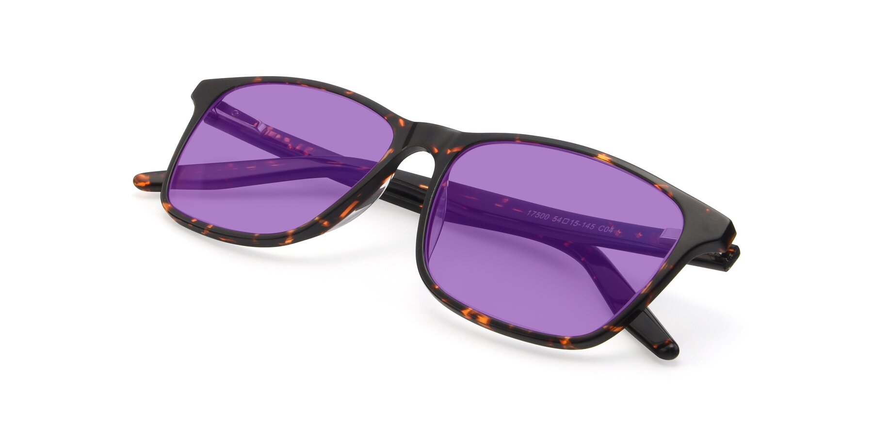 View of 17500 in Tortoise with Medium Purple Tinted Lenses