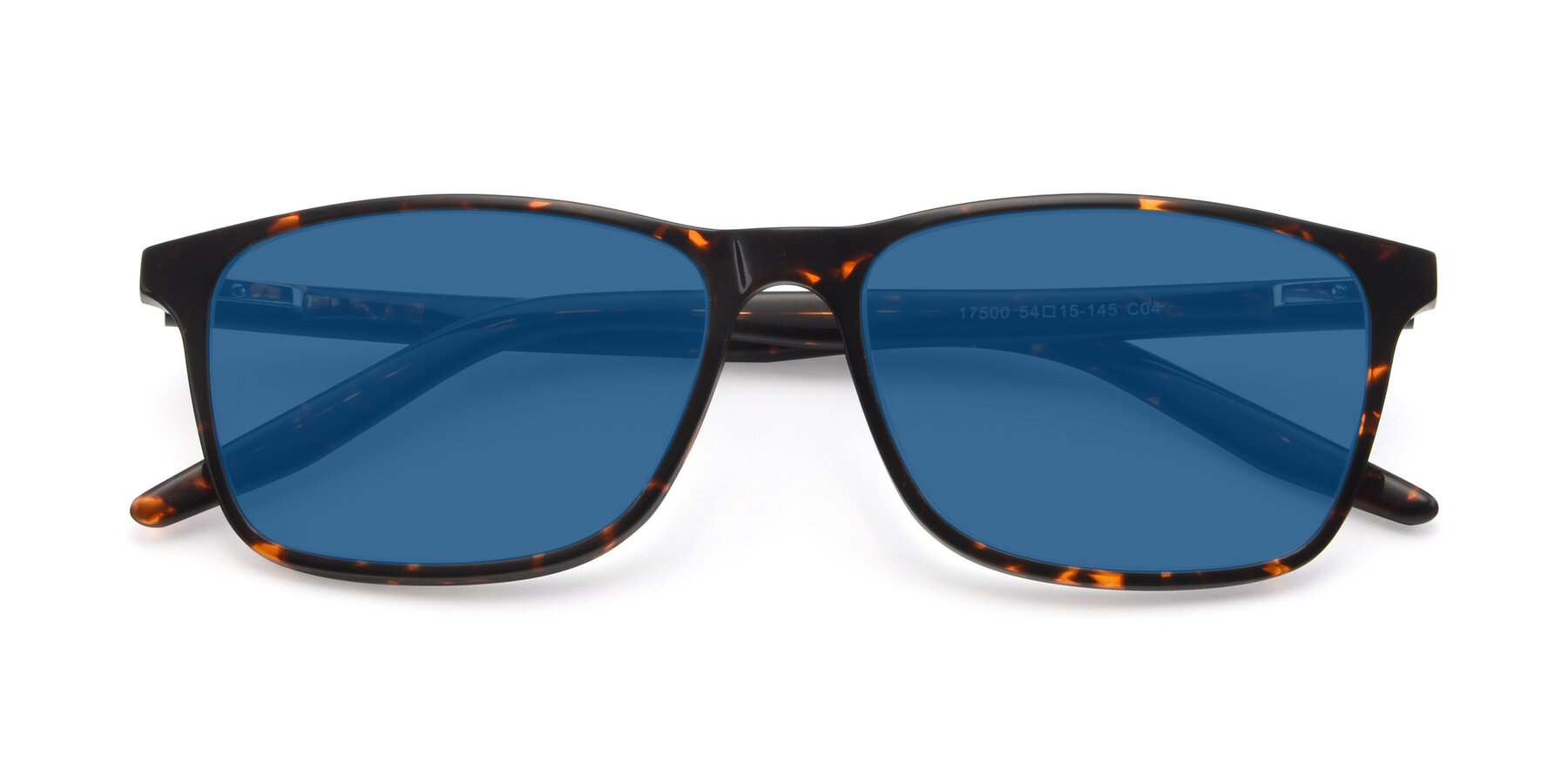 Folded Front of 17500 in Tortoise with Blue Tinted Lenses