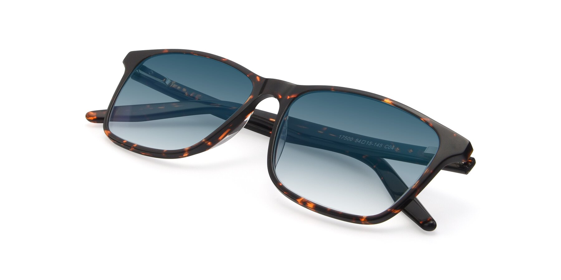 View of 17500 in Tortoise with Blue Gradient Lenses