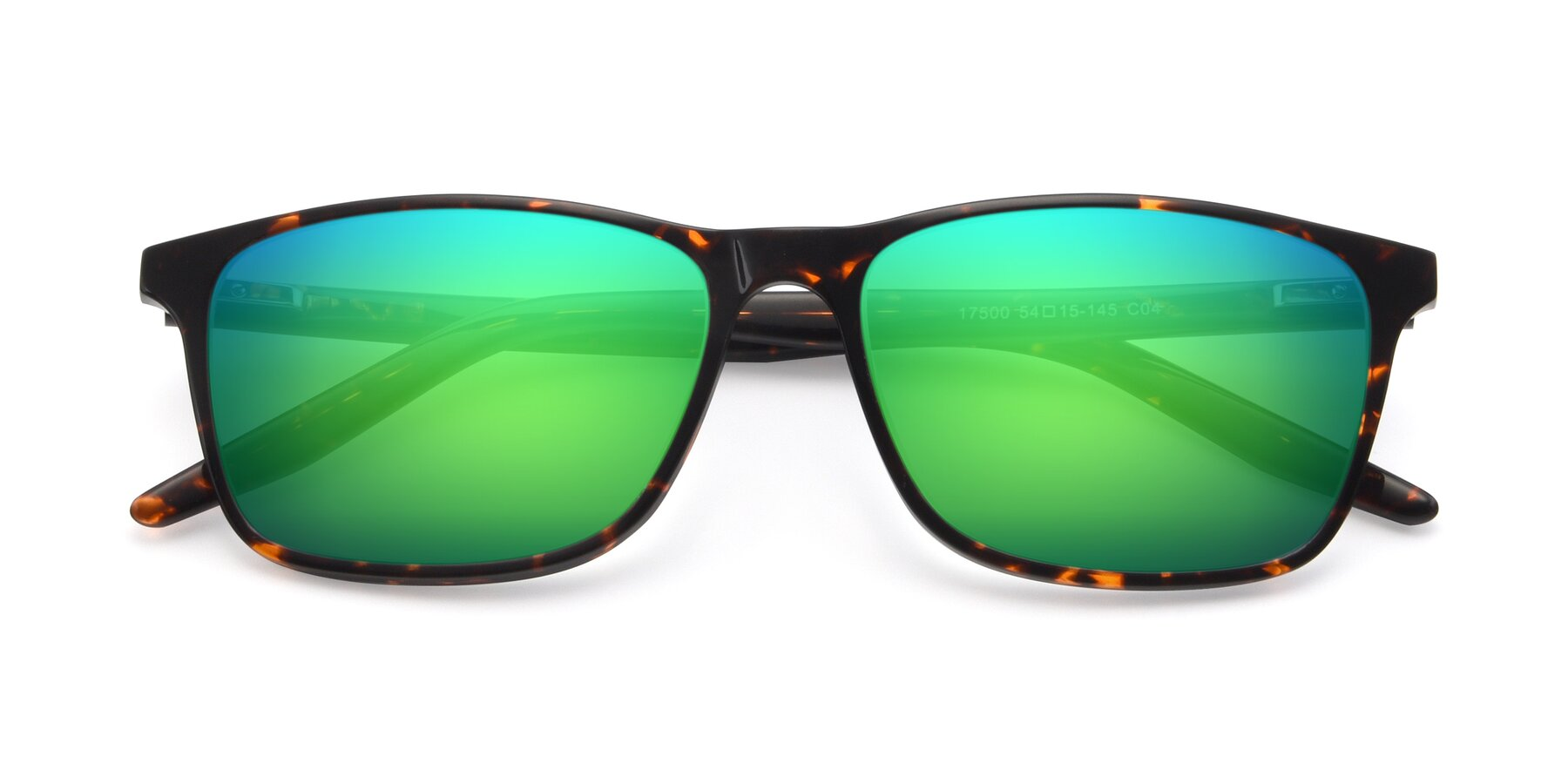 Folded Front of 17500 in Tortoise with Green Mirrored Lenses