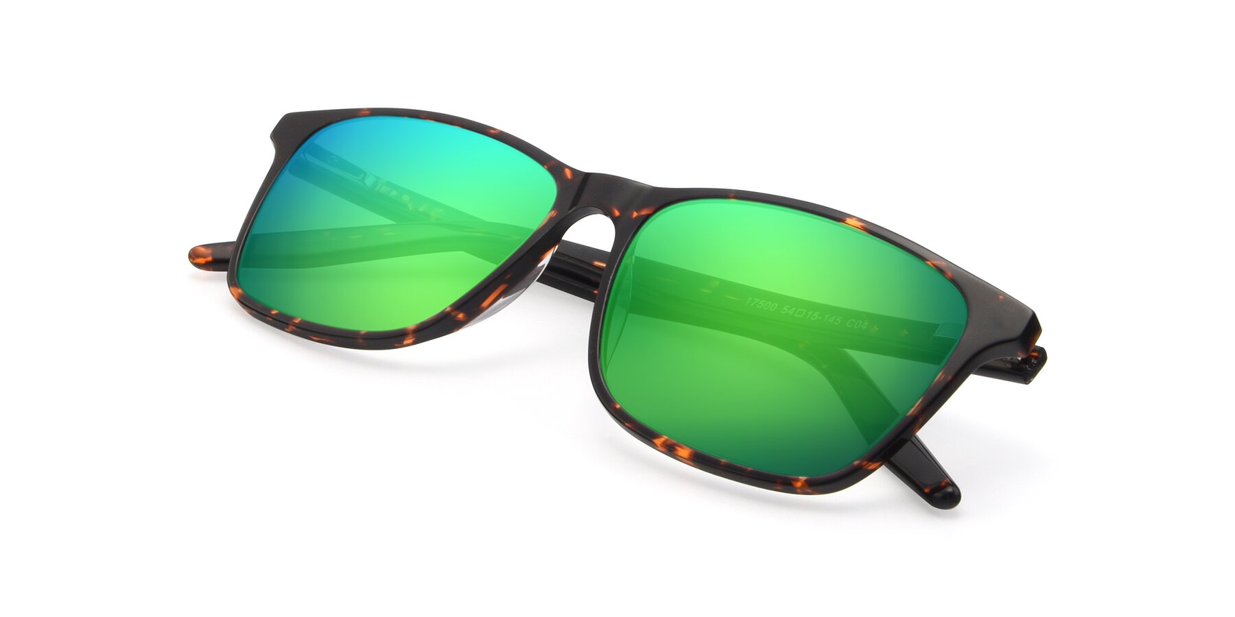 View of 17500 in Tortoise with Green Mirrored Lenses