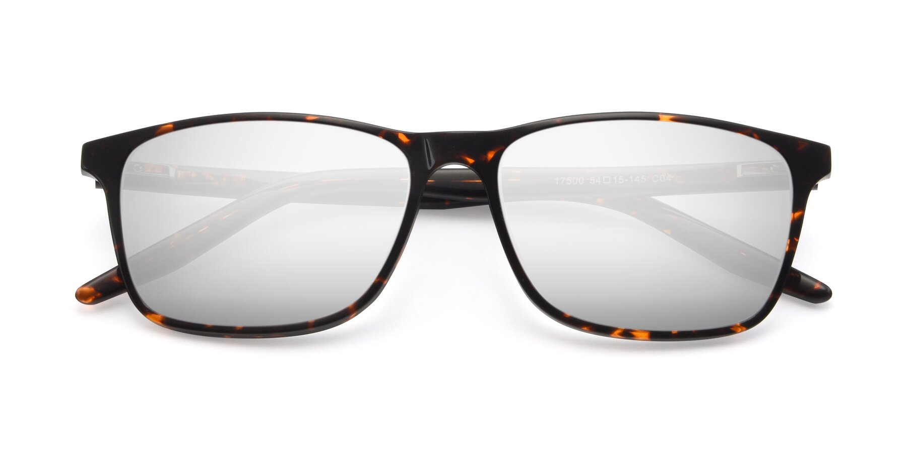 Folded Front of 17500 in Tortoise with Silver Mirrored Lenses