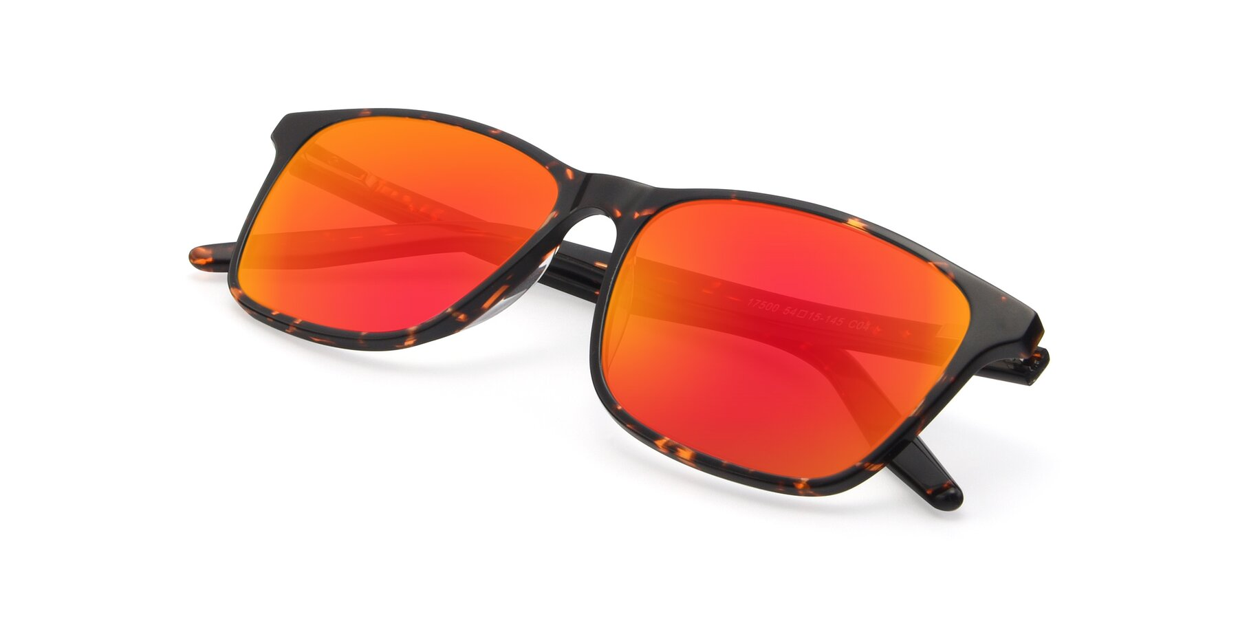 View of 17500 in Tortoise with Red Gold Mirrored Lenses