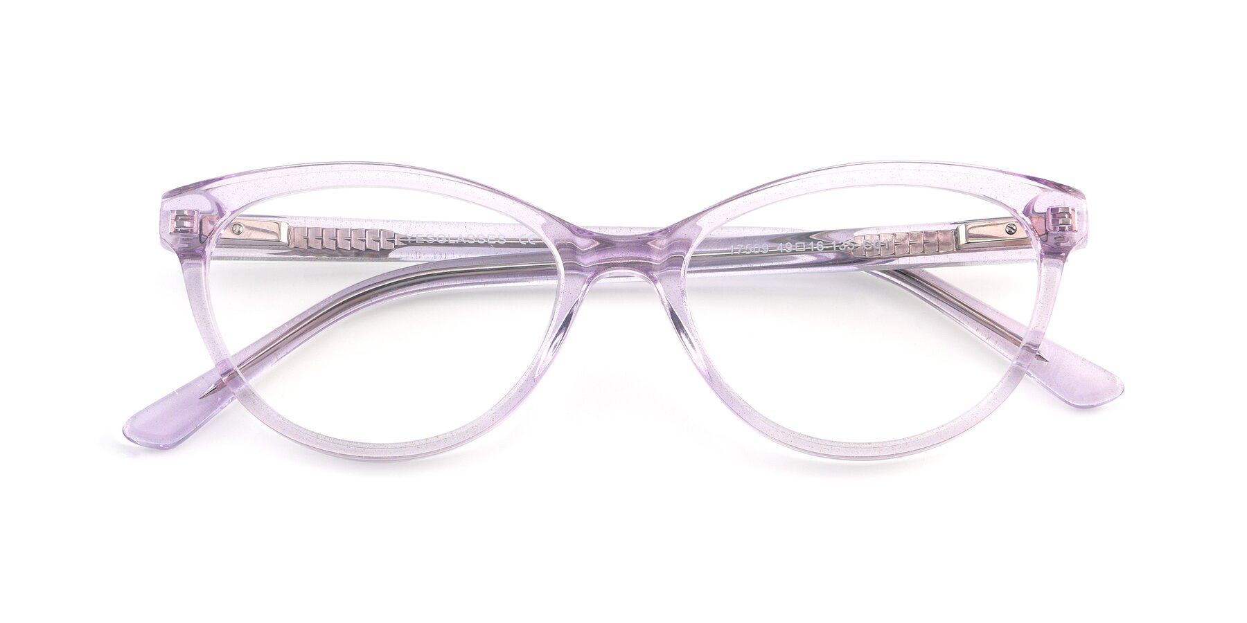 Folded Front of 17509 in Transparent Purple with Clear Eyeglass Lenses