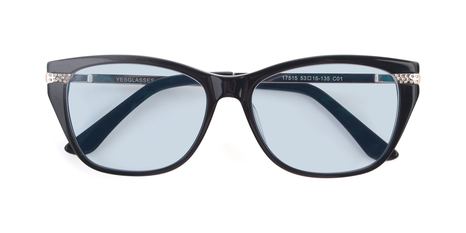 Folded Front of 17515 in Black with Light Blue Tinted Lenses