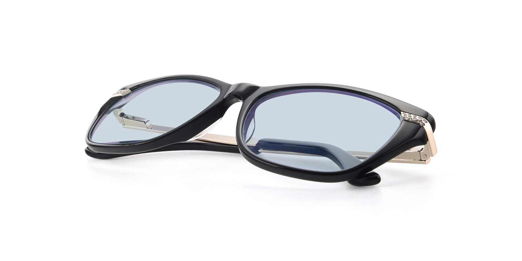 View of 17515 in Black with Light Blue Tinted Lenses