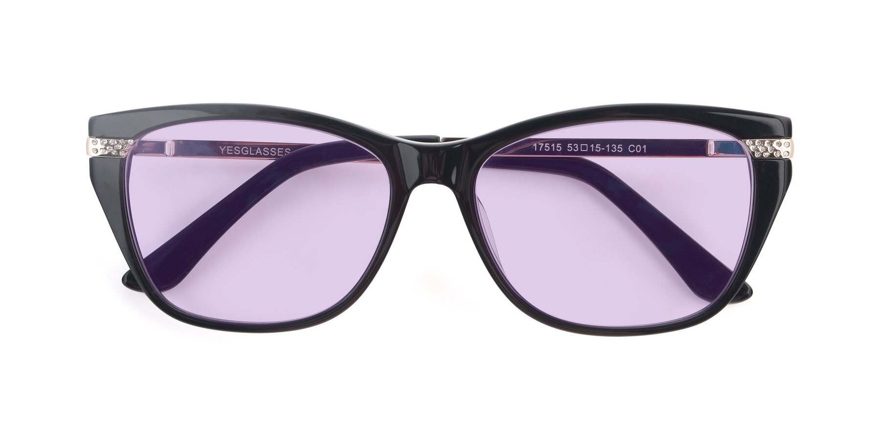 Folded Front of 17515 in Black with Light Purple Tinted Lenses