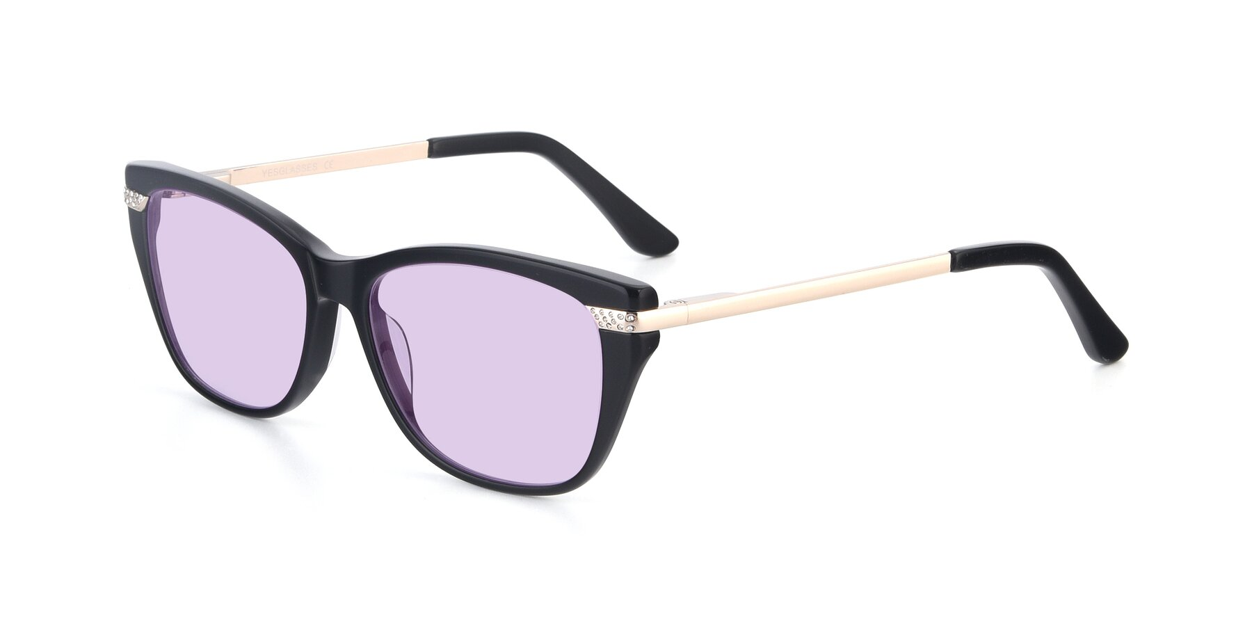 Angle of 17515 in Black with Light Purple Tinted Lenses