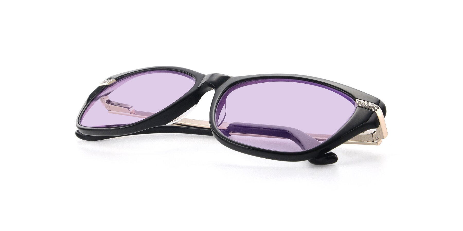 View of 17515 in Black with Light Purple Tinted Lenses