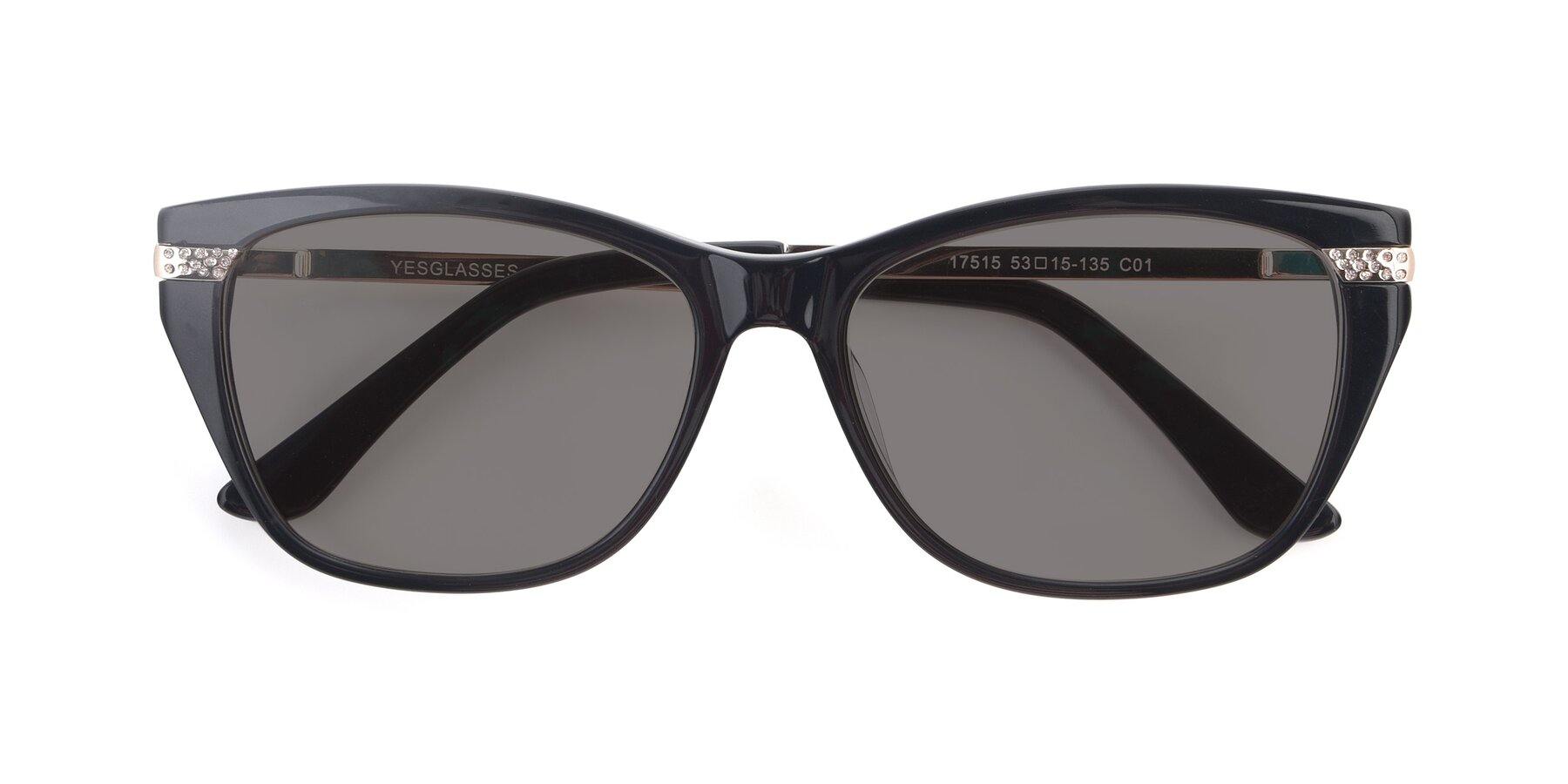 Folded Front of 17515 in Black with Medium Gray Tinted Lenses