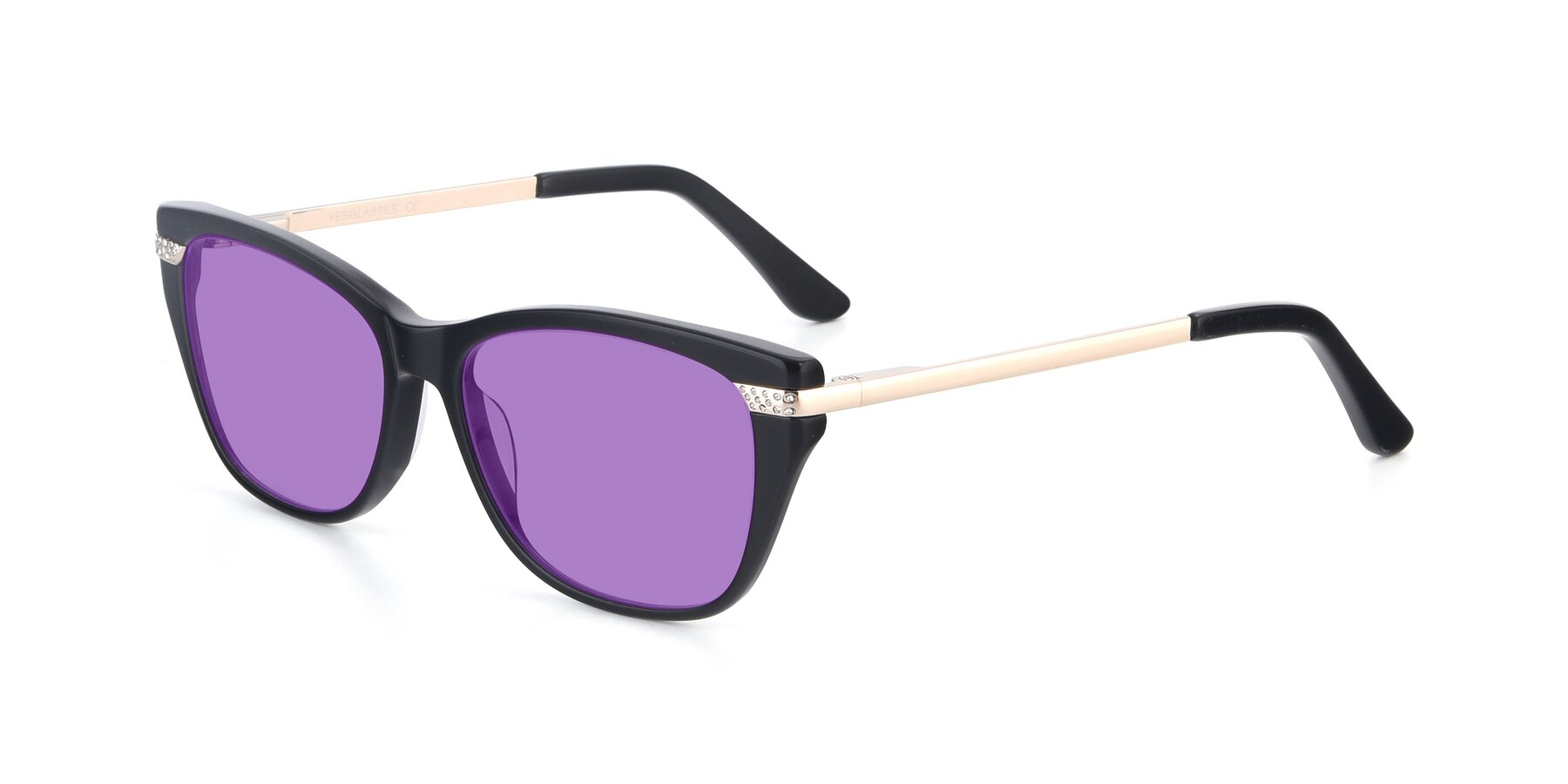 Angle of 17515 in Black with Medium Purple Tinted Lenses