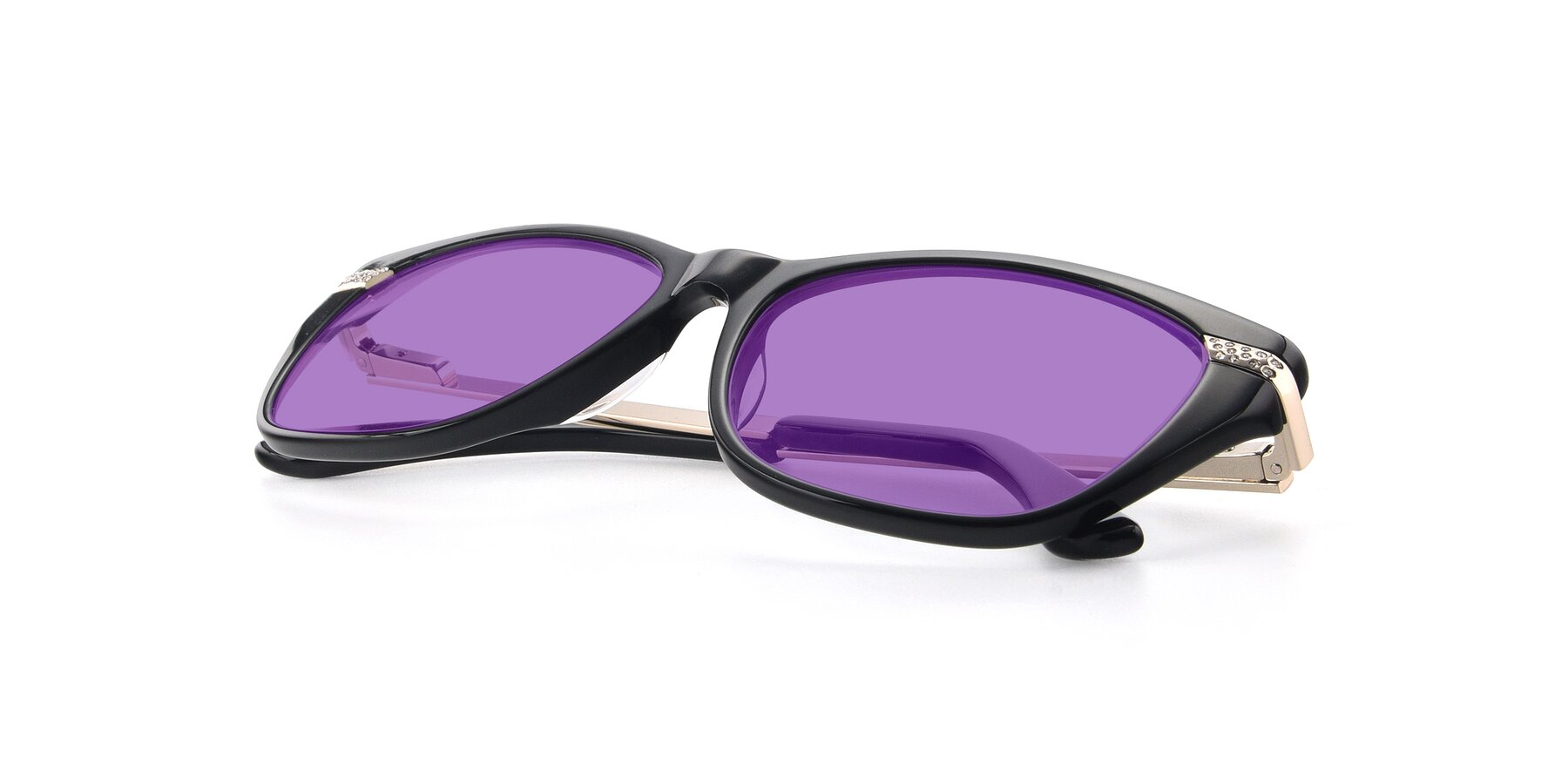 View of 17515 in Black with Medium Purple Tinted Lenses