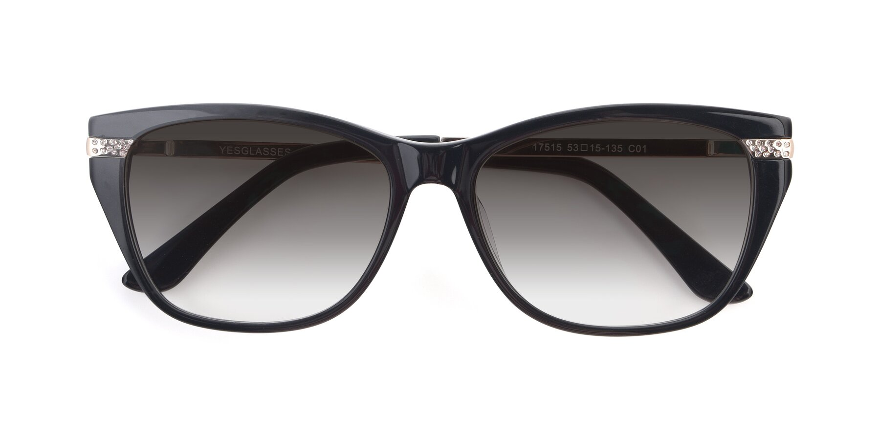 Folded Front of 17515 in Black with Gray Gradient Lenses