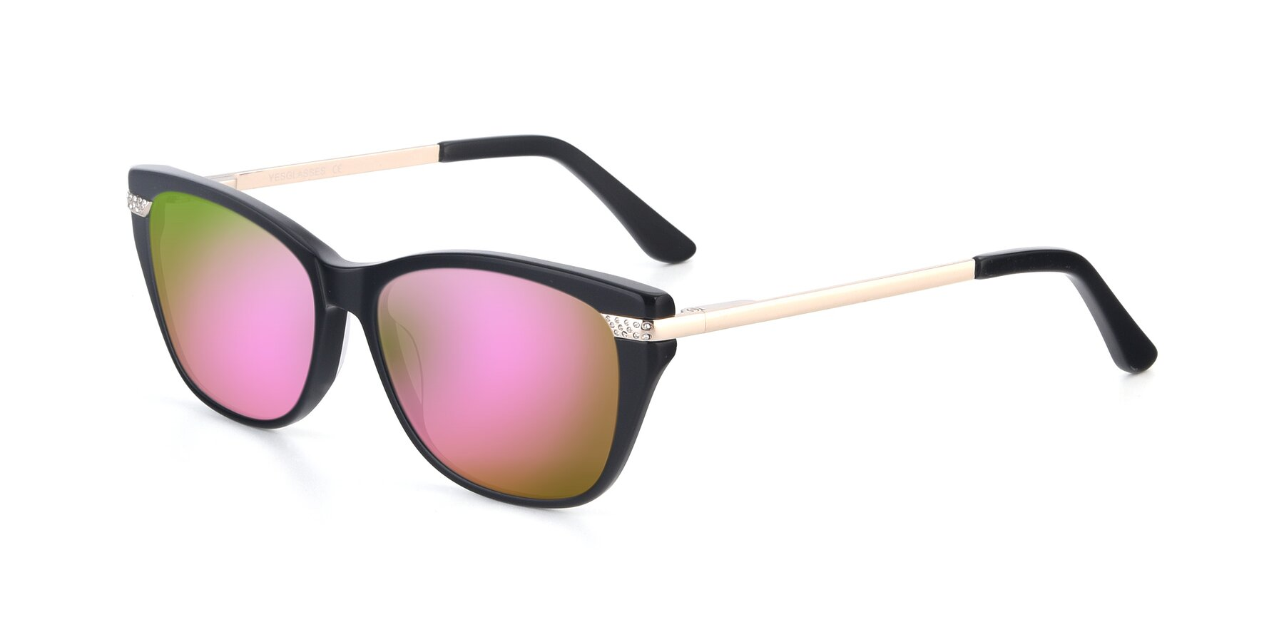 Angle of 17515 in Black with Pink Mirrored Lenses