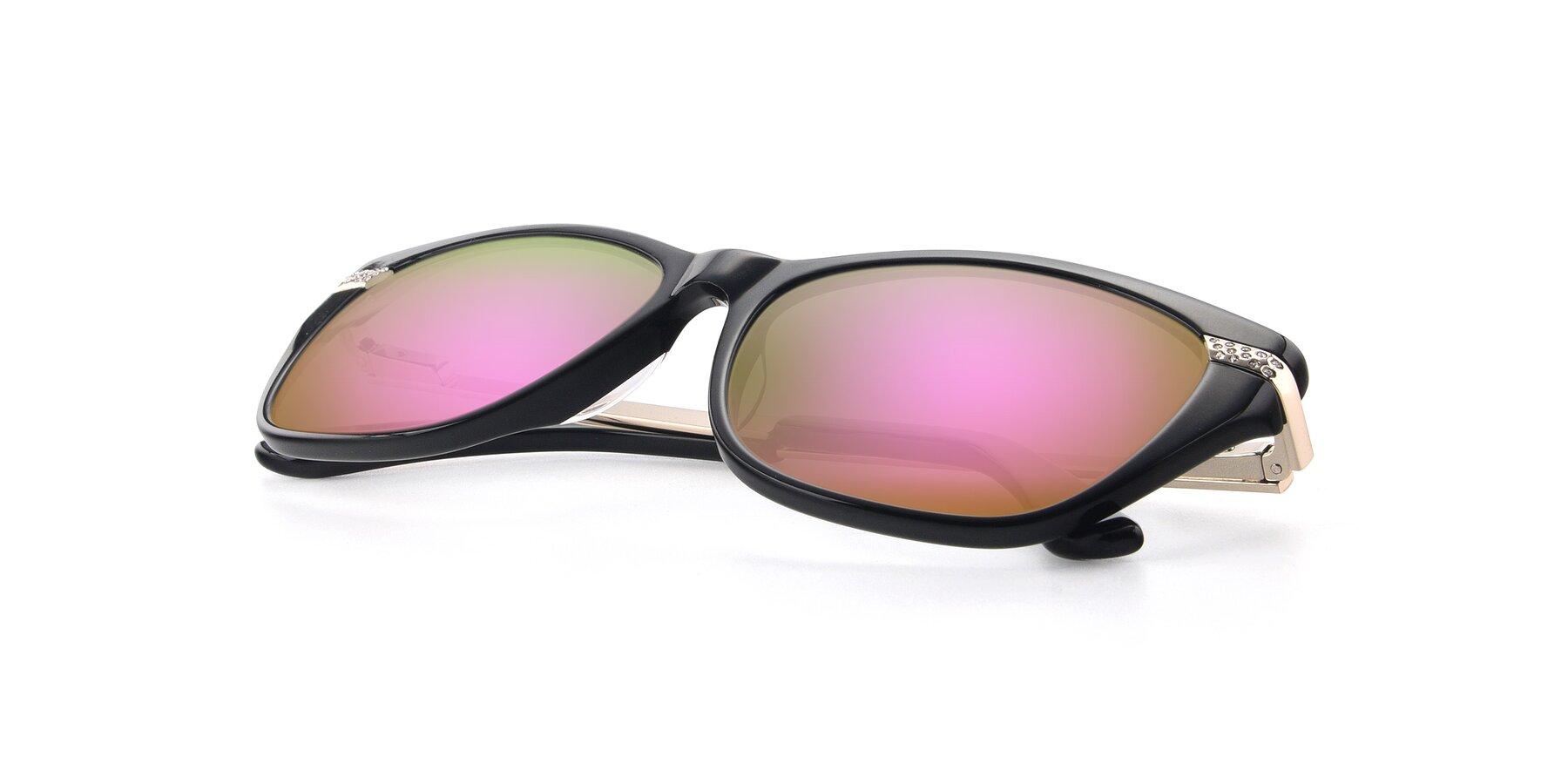 View of 17515 in Black with Pink Mirrored Lenses