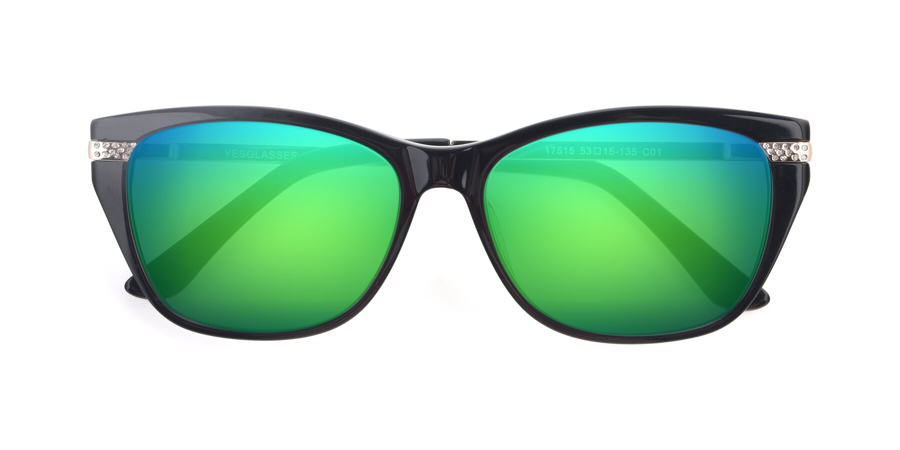 Folded Front of 17515 in Black with Green Mirrored Lenses