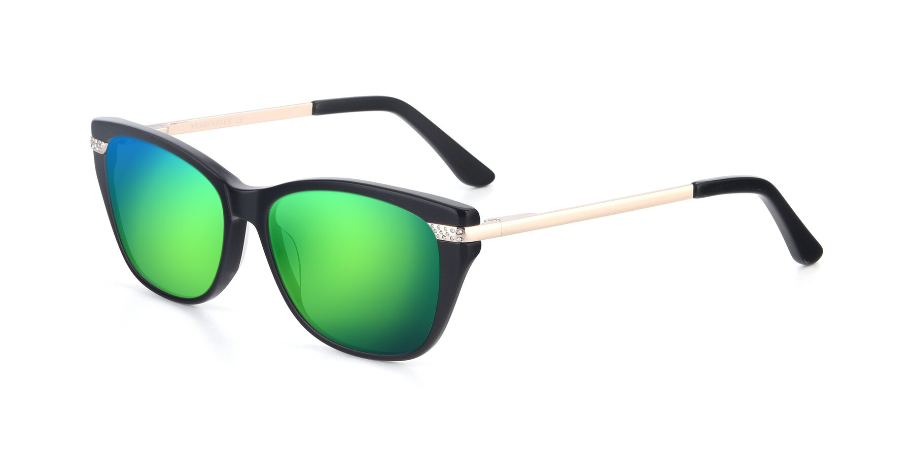 Angle of 17515 in Black with Green Mirrored Lenses