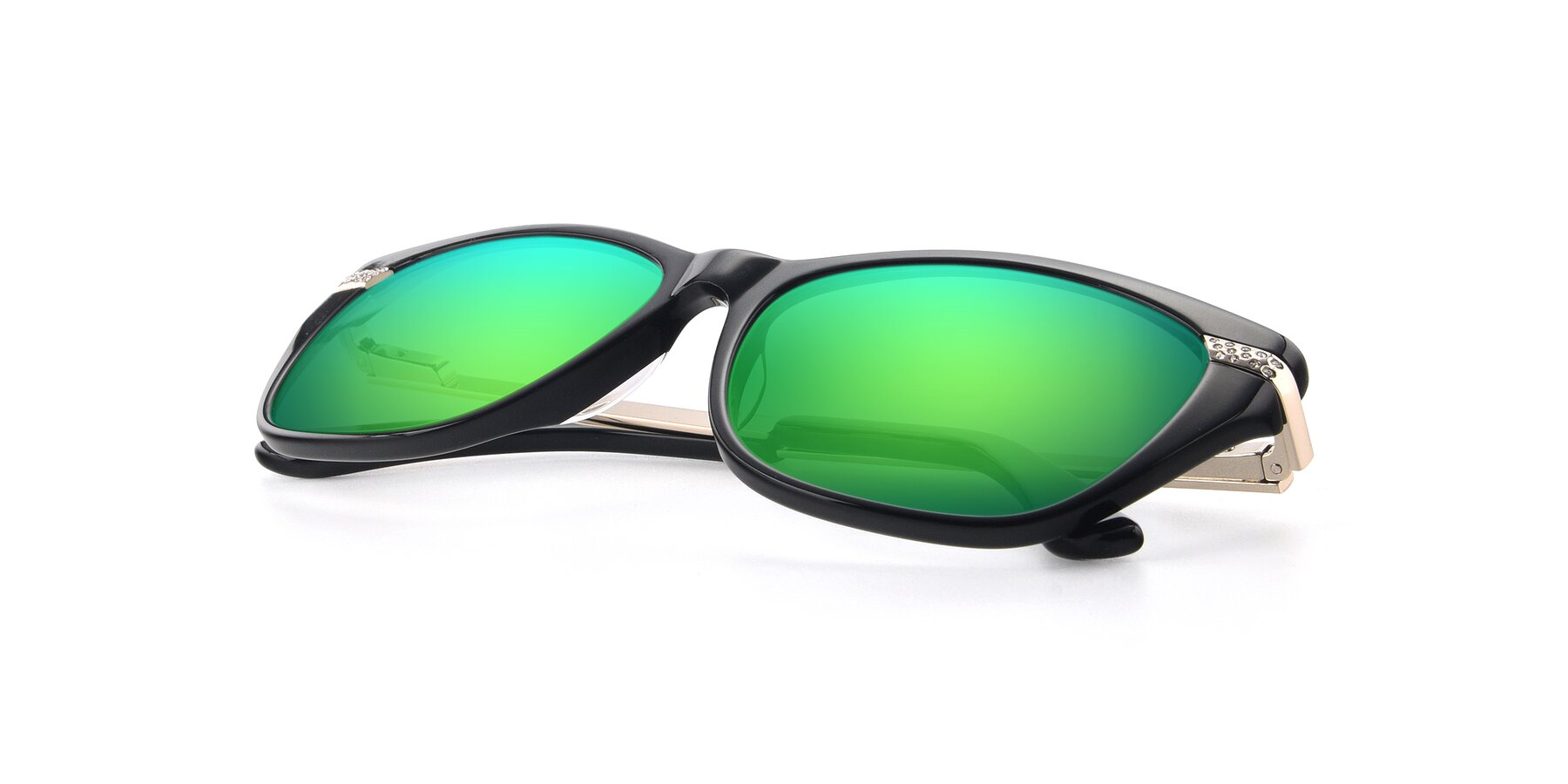 View of 17515 in Black with Green Mirrored Lenses